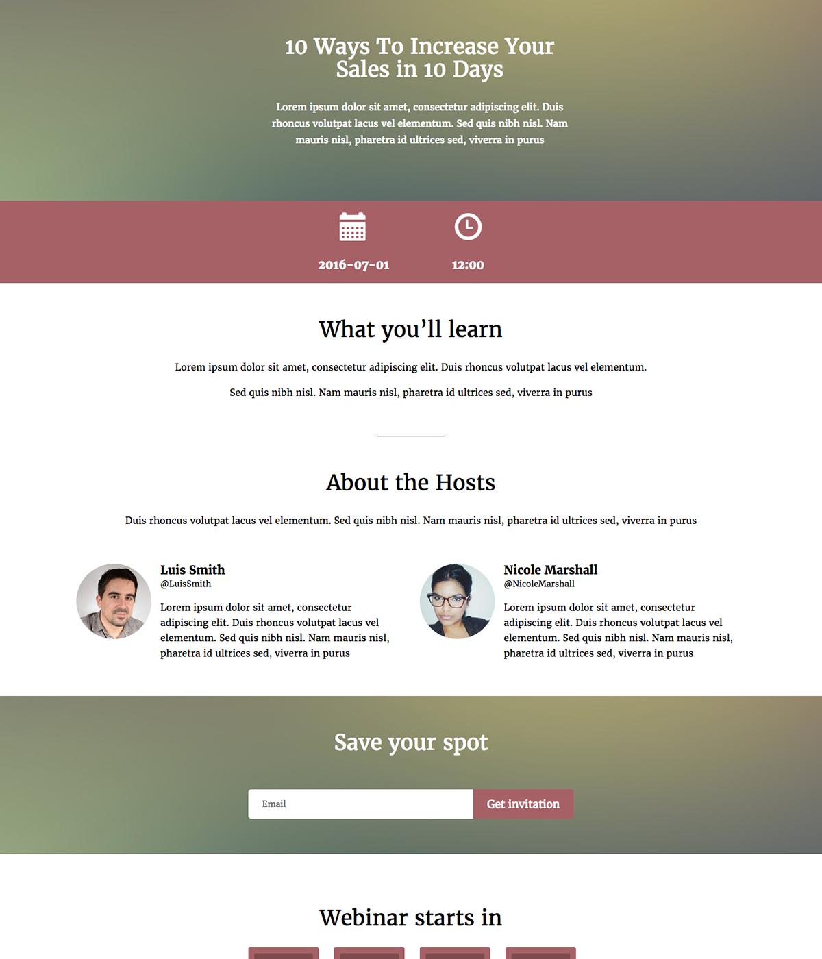 Webinar template example