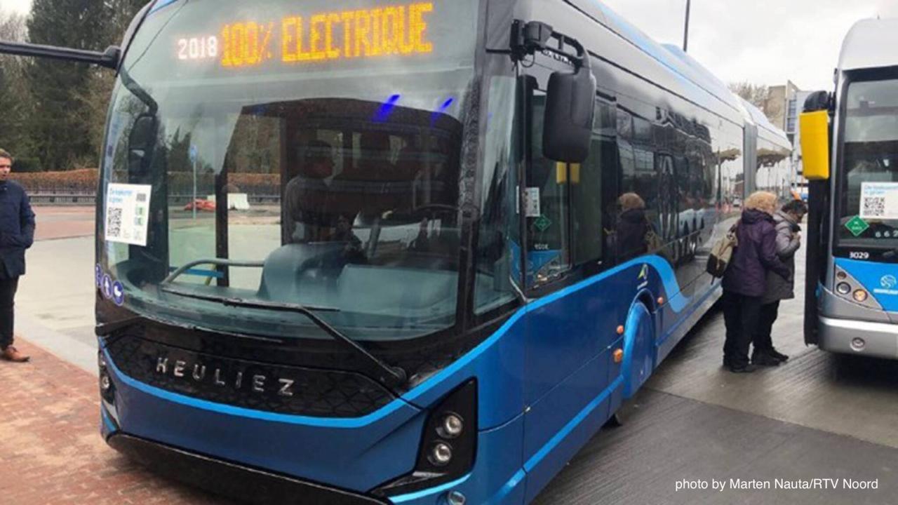 Heuliez electric bus on display in Groningen