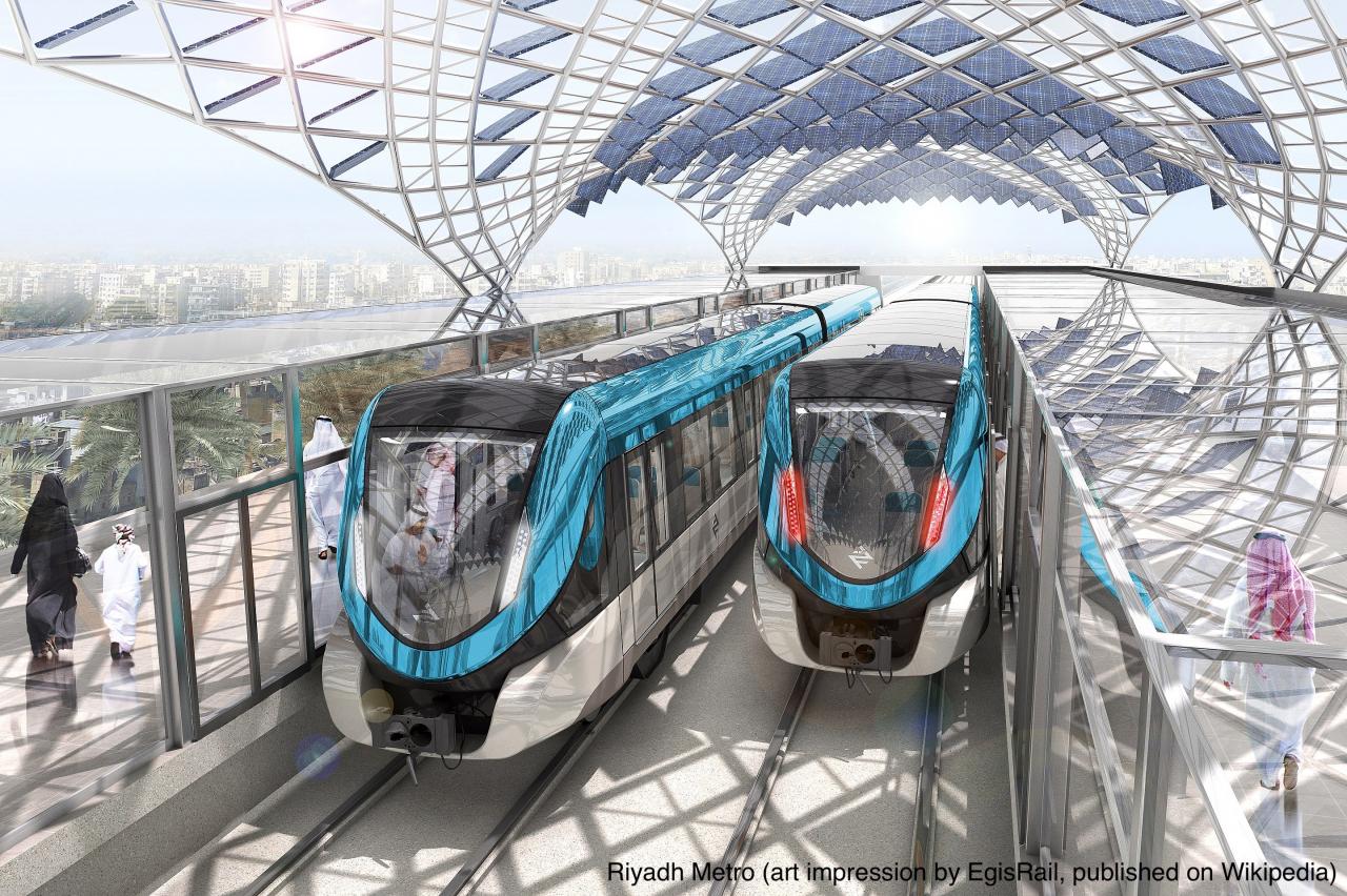 Riyadh Metro (art impression by EgisRail, published on Wikipedia)