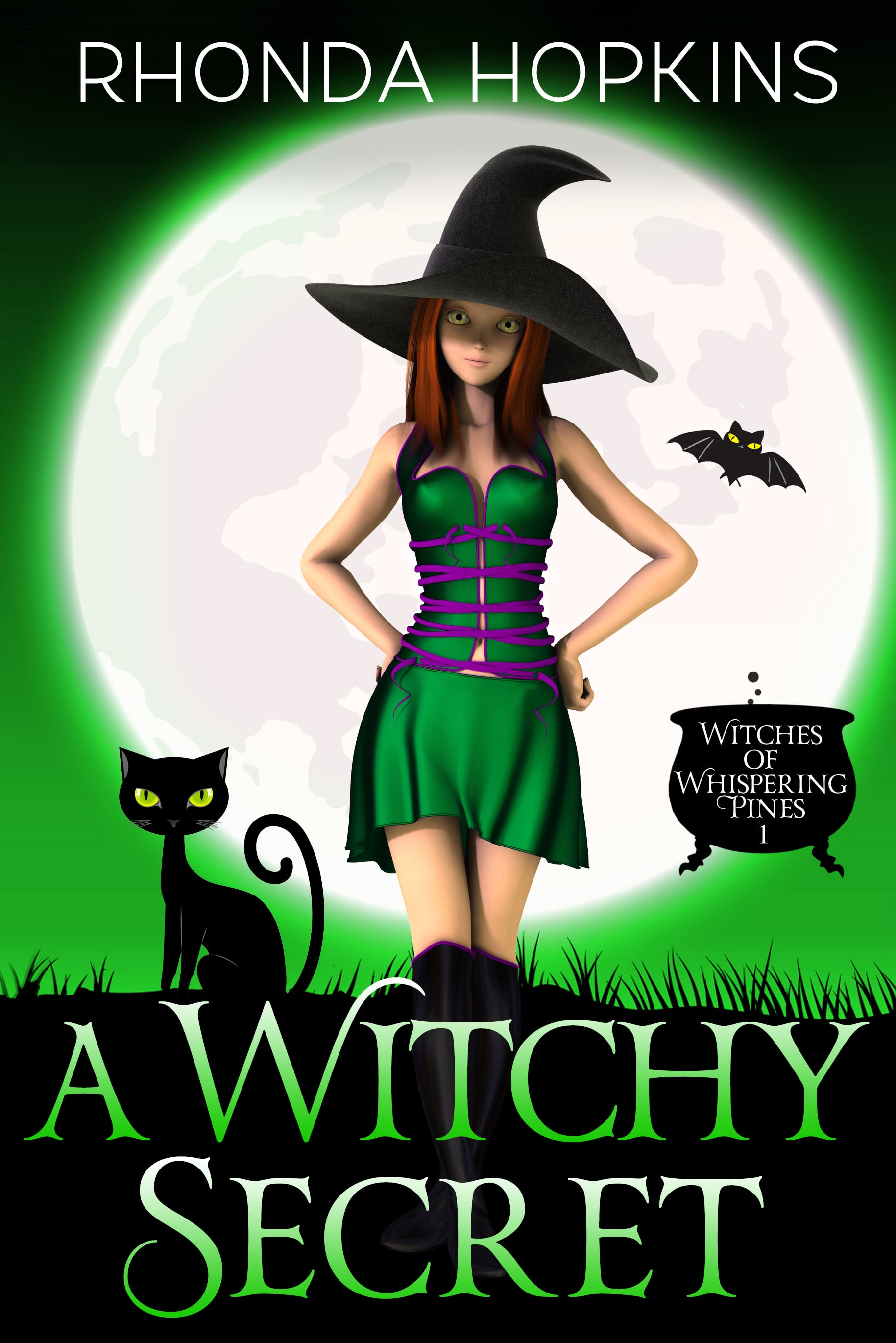 Teen Girl in Witches hat wearing a purple dress and black boots, with her hands raised in surprise in front of a large moon on a purple background. There's a black cauldron with text: Witches of Whispering Pines, and there is a black cat.on the other side of the girl. Title: A Witchy Surprise, Author: Rhonda Hopkins
