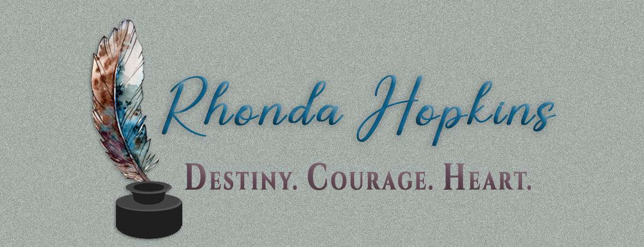 Rhonda Hopkins. Destiny. Courage. Heart. Image of beautiful multi-colored feather with inkwell.