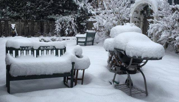 Our backyard--snow covered bench, grill, and yard.