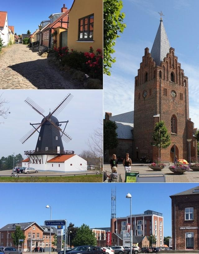 Baunhøj Mølle, Grenaa Kirke og Grenaa centrum