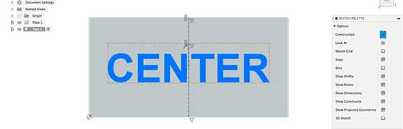 Center align text in Fusion 360