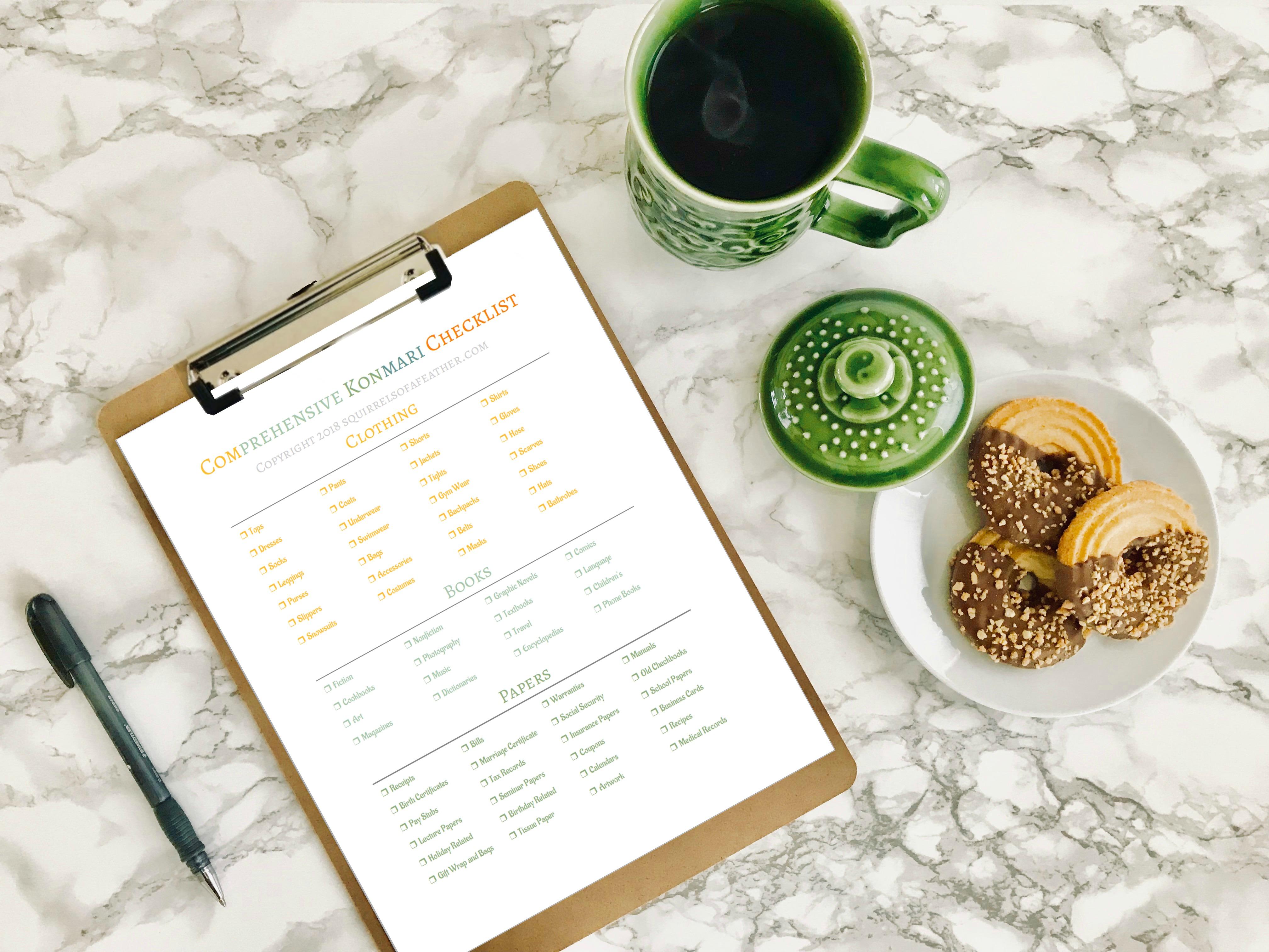 the ultimate free comprehensive konmari checklist 5 page printable