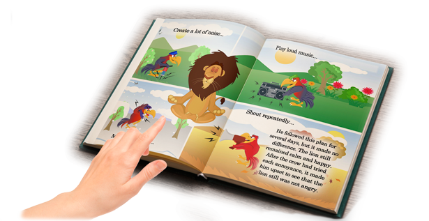 Children's Book: The Peaceful Lion and the Nagging Crow Open Book