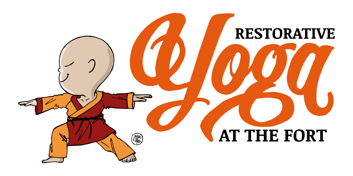 Restorative Yoga at the Fort graphic with Yogi Theo