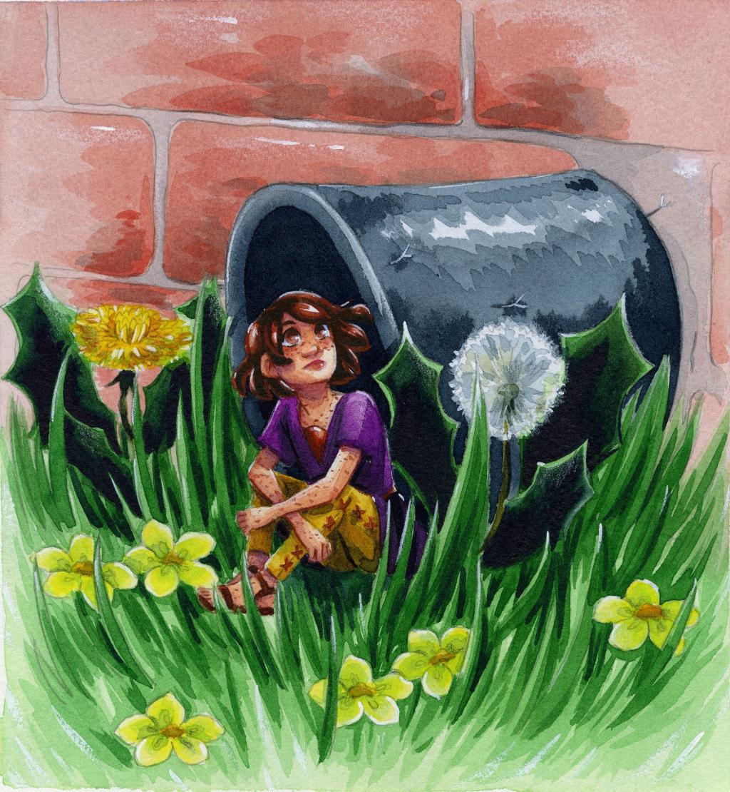 Kara, a tiny person, sitting in a drainpipe.