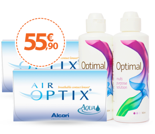 AIR OPTIX AQUA ΠΑΚΕΤΟ 2 ΚΟΥΤΙΩΝ 6PCK (12ΦΑΚΟΙ) +ΥΓΡΟ OPTIMAL 2Χ360ML