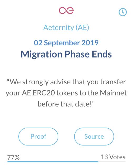 Aeternity Migratie Fase Eindigt