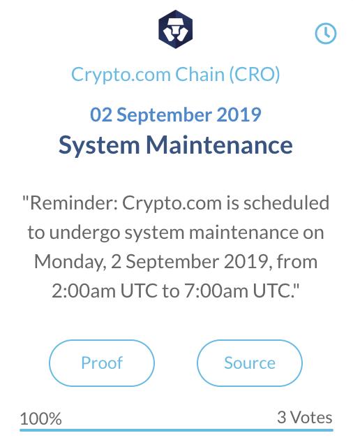 Crypto.com Chain Systeem Onderhoud