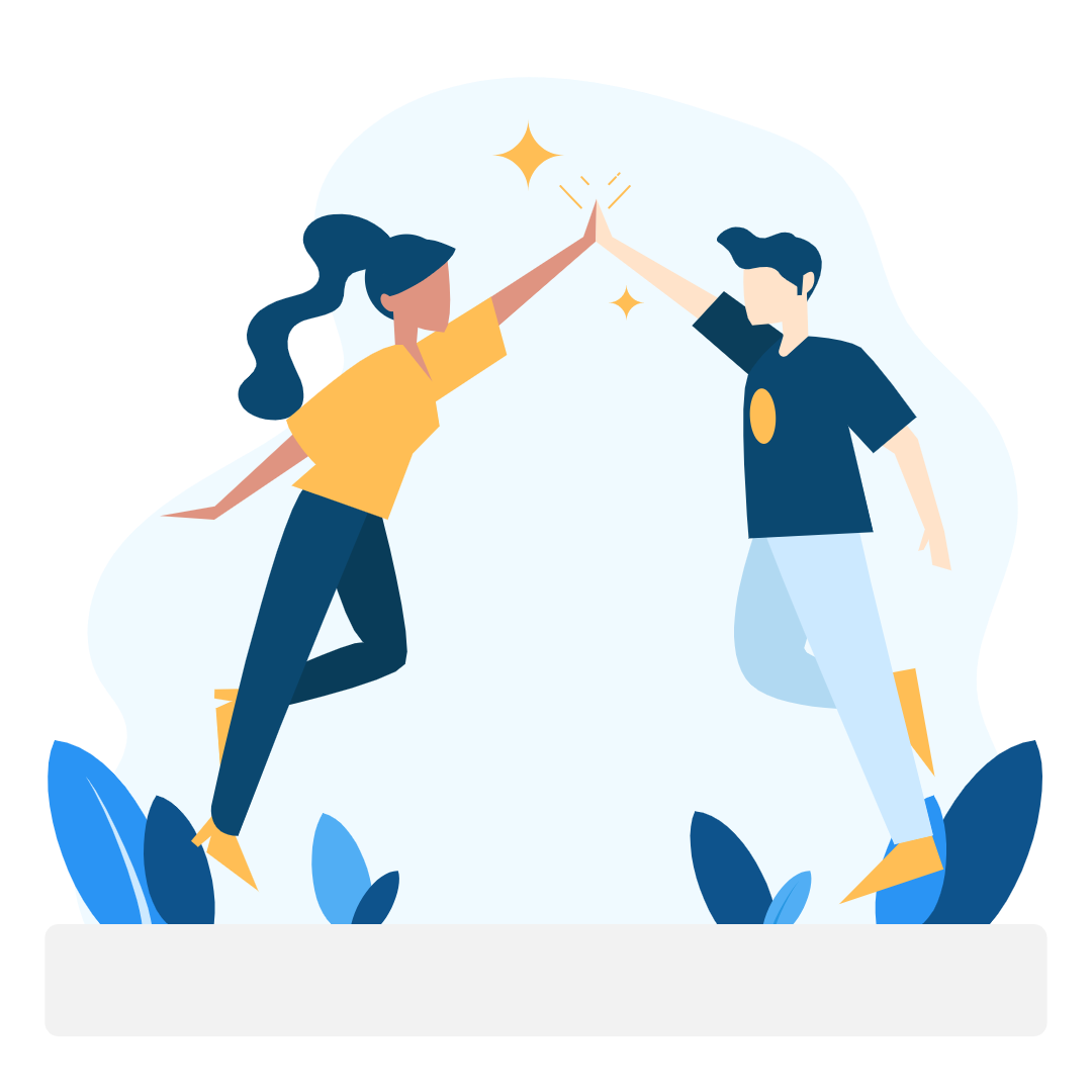 Personalized support - man and woman high-fiveing - Zero To Mastery Ambassador Program