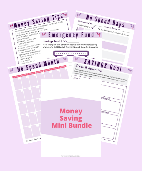 mock up image to advertise a free saving money bundle of printables