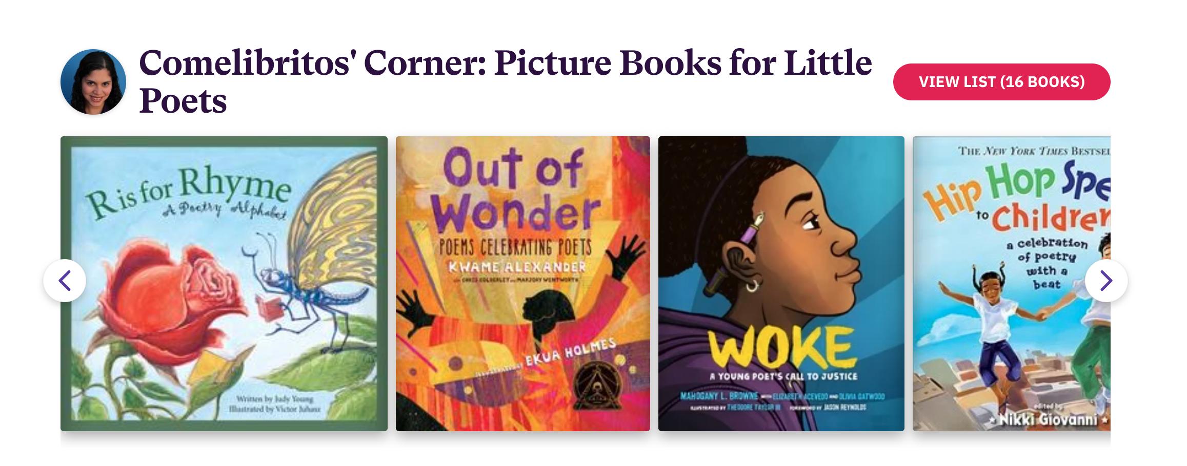 Bookshop List: Comelibritos' Corner: Picture Books for Little Poets