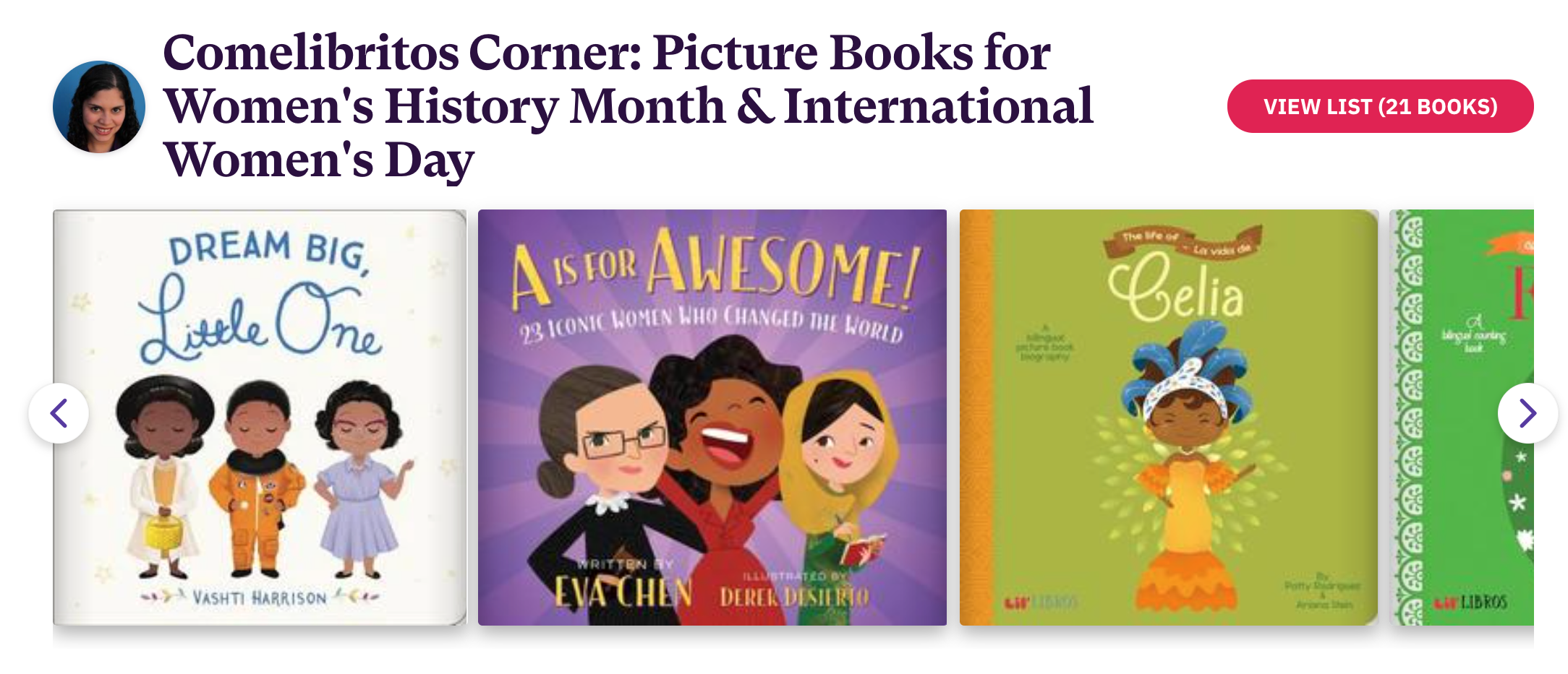 Image of picture books included in the Bookshop list called: Comelibritos Corner: Picture Books for Women's History Month & International Women's Day