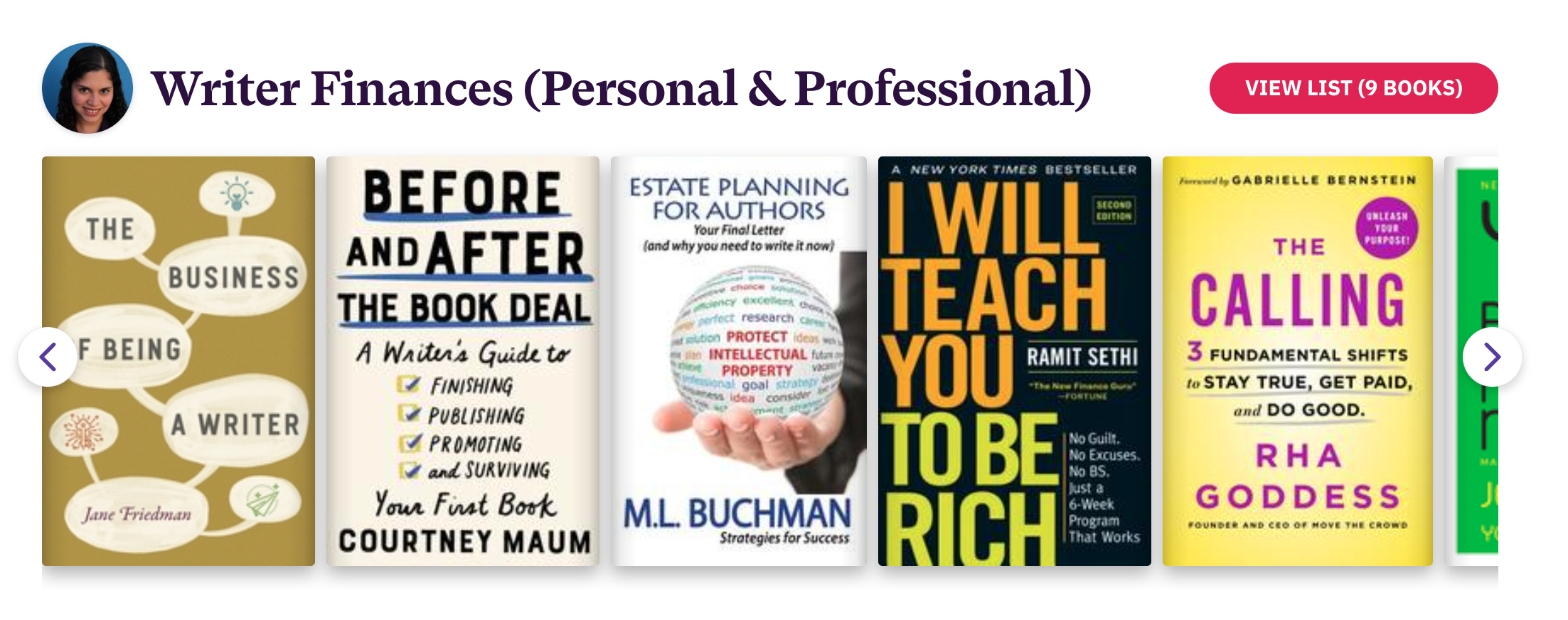 Book List of 9 books related to Writer Finances (Personal & Professional)