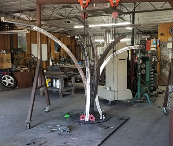 The sound sculpture Fisher Five in process - Kevin Caron