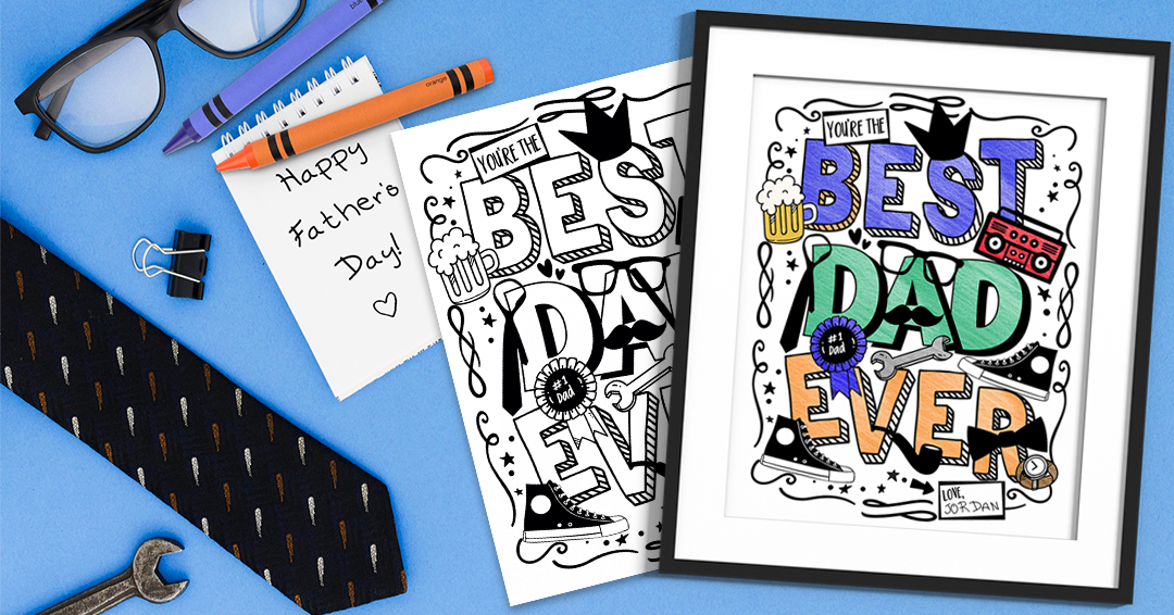 BEST DAD EVER Coloring Page ... Free Printable 1