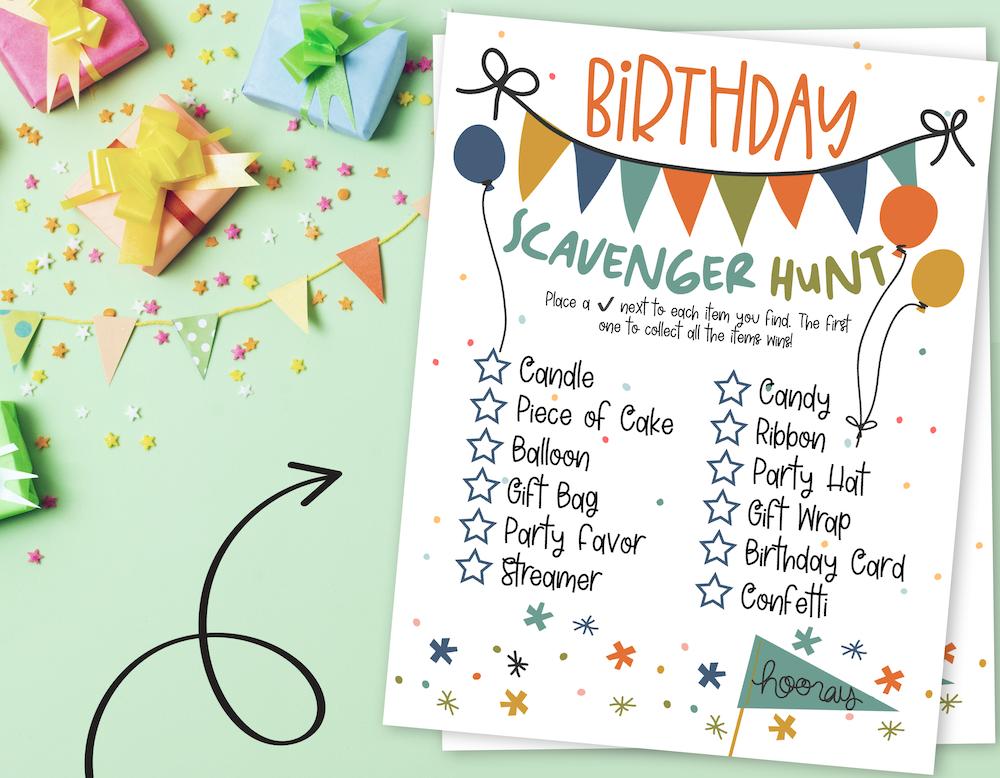 FUN Birthday Scavenger Hunt for Kids (Free Printables) 1