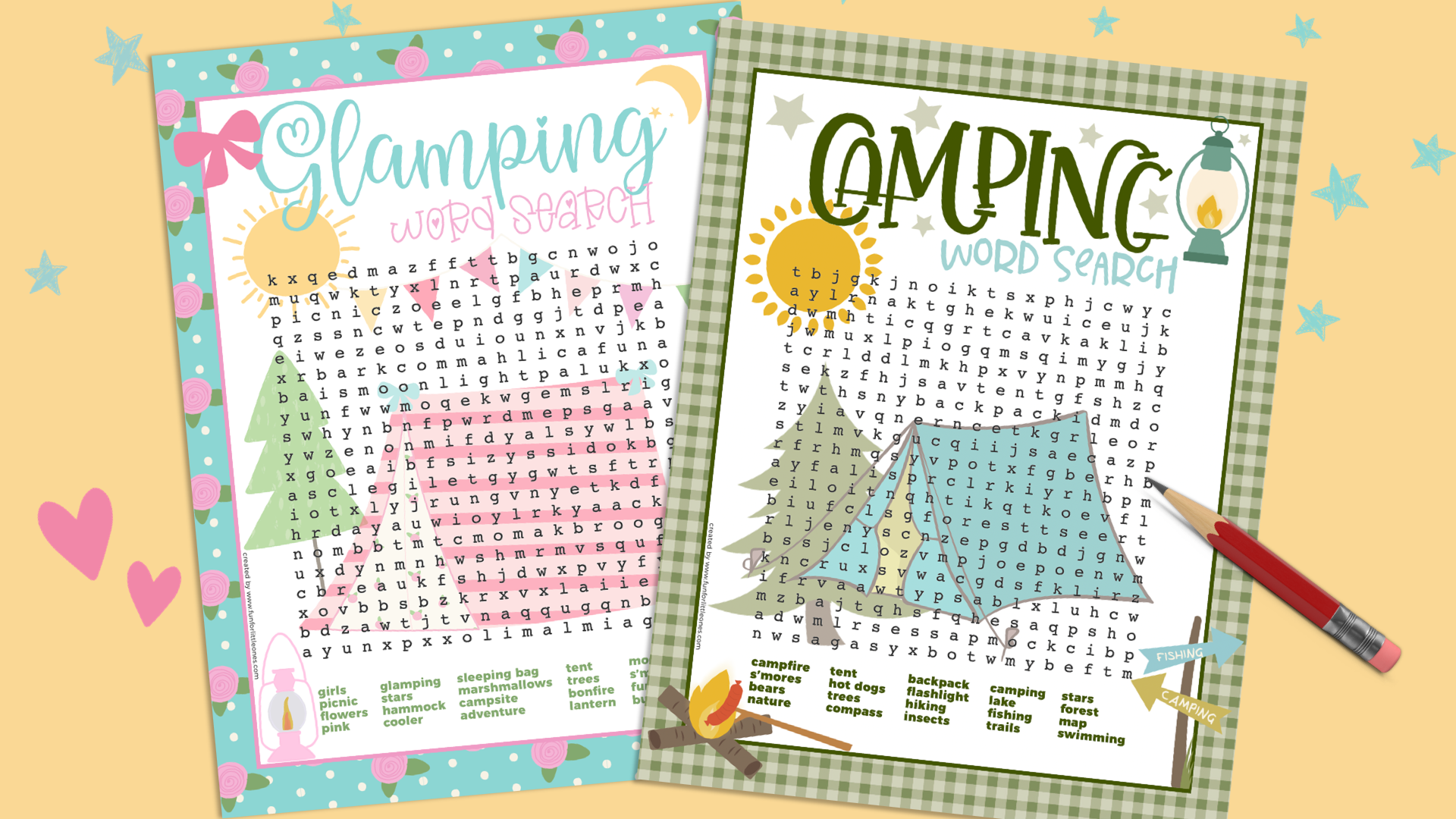 Glamping And Camping Word Search Printables + 17 MORE FREEBIES! 5