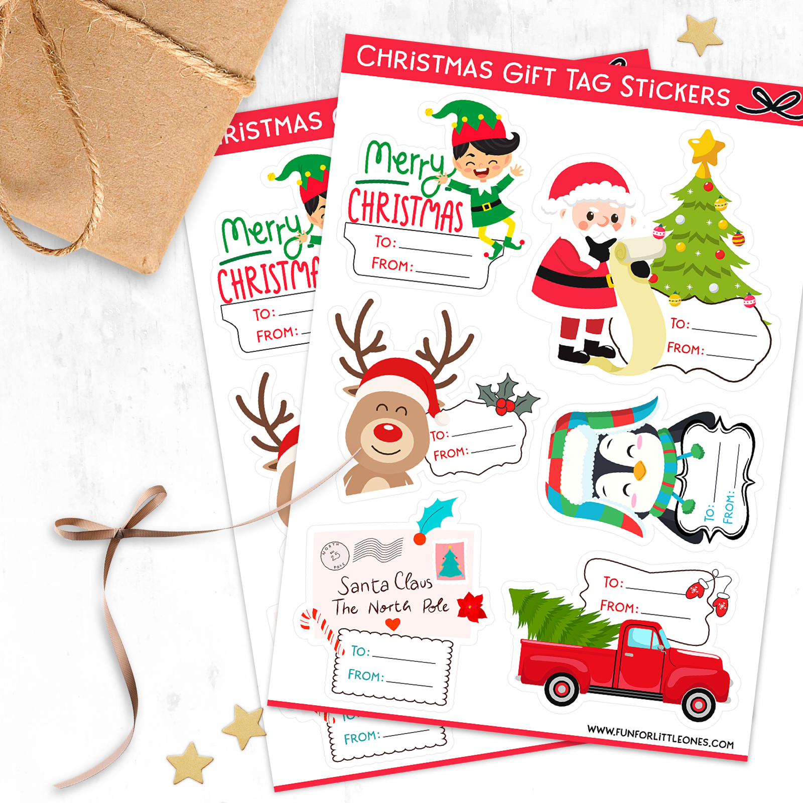 Free Christmas Gift Tag Stickers - Cricut Print & Cut 1