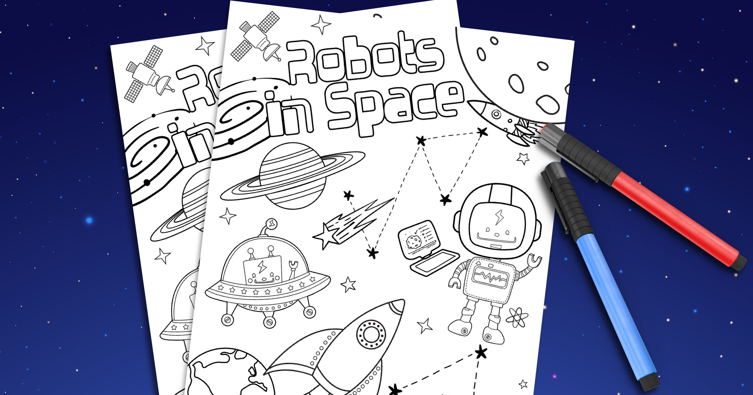 Robots In Space Coloring Page + 15 More STEM Printables - FREE! 13