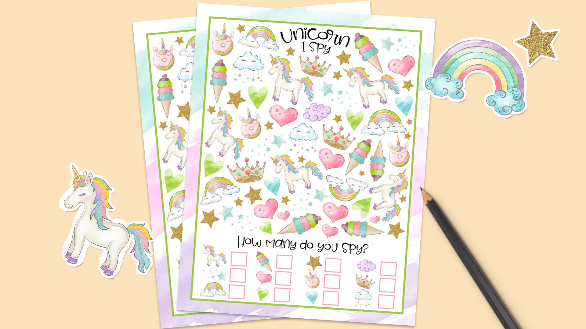 Free Printable Unicorn I Spy + 15 More FREE Unicorn Printables 1