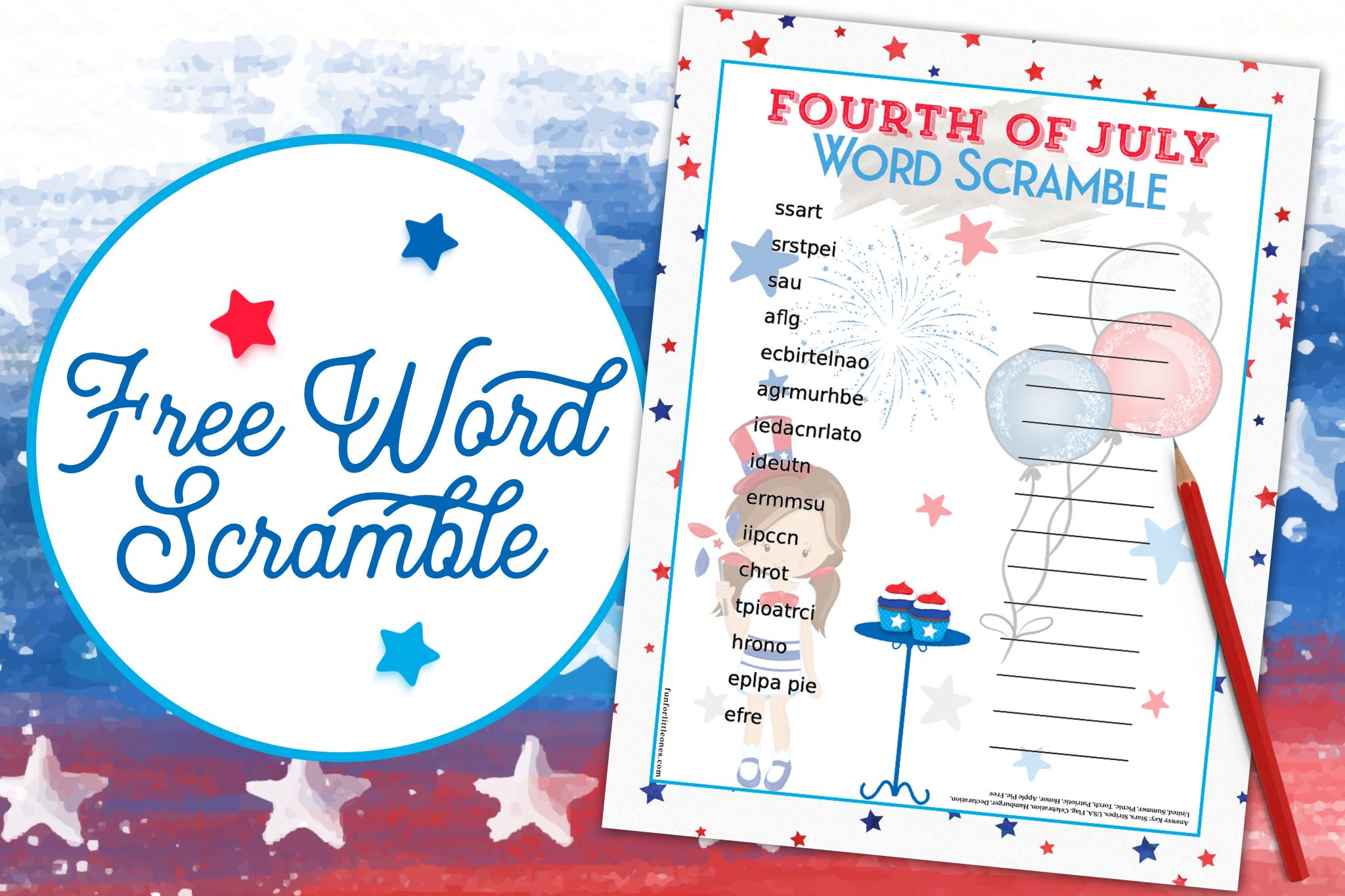 Fourth of July Word Scramble (Girl) 1