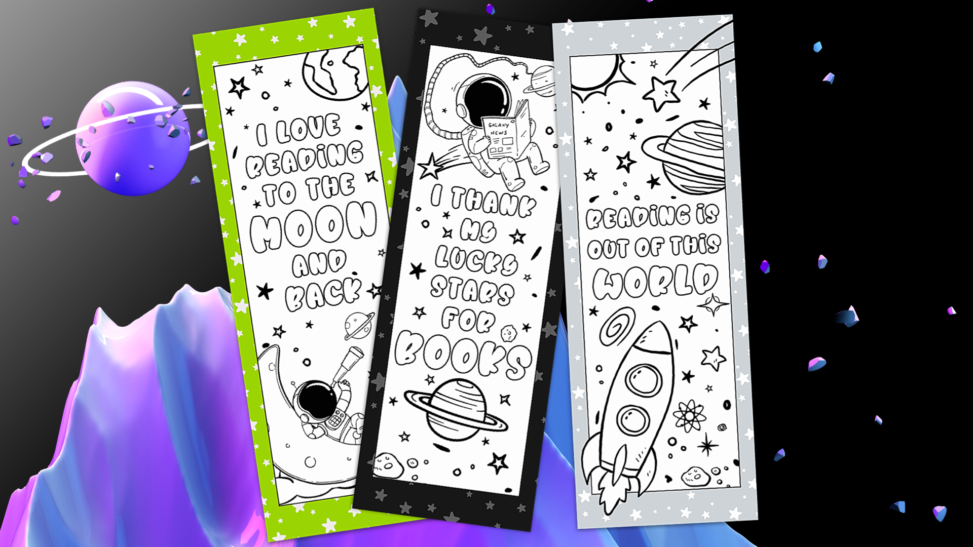 Space Coloring Bookmarks for Kids - Set of 3 3
