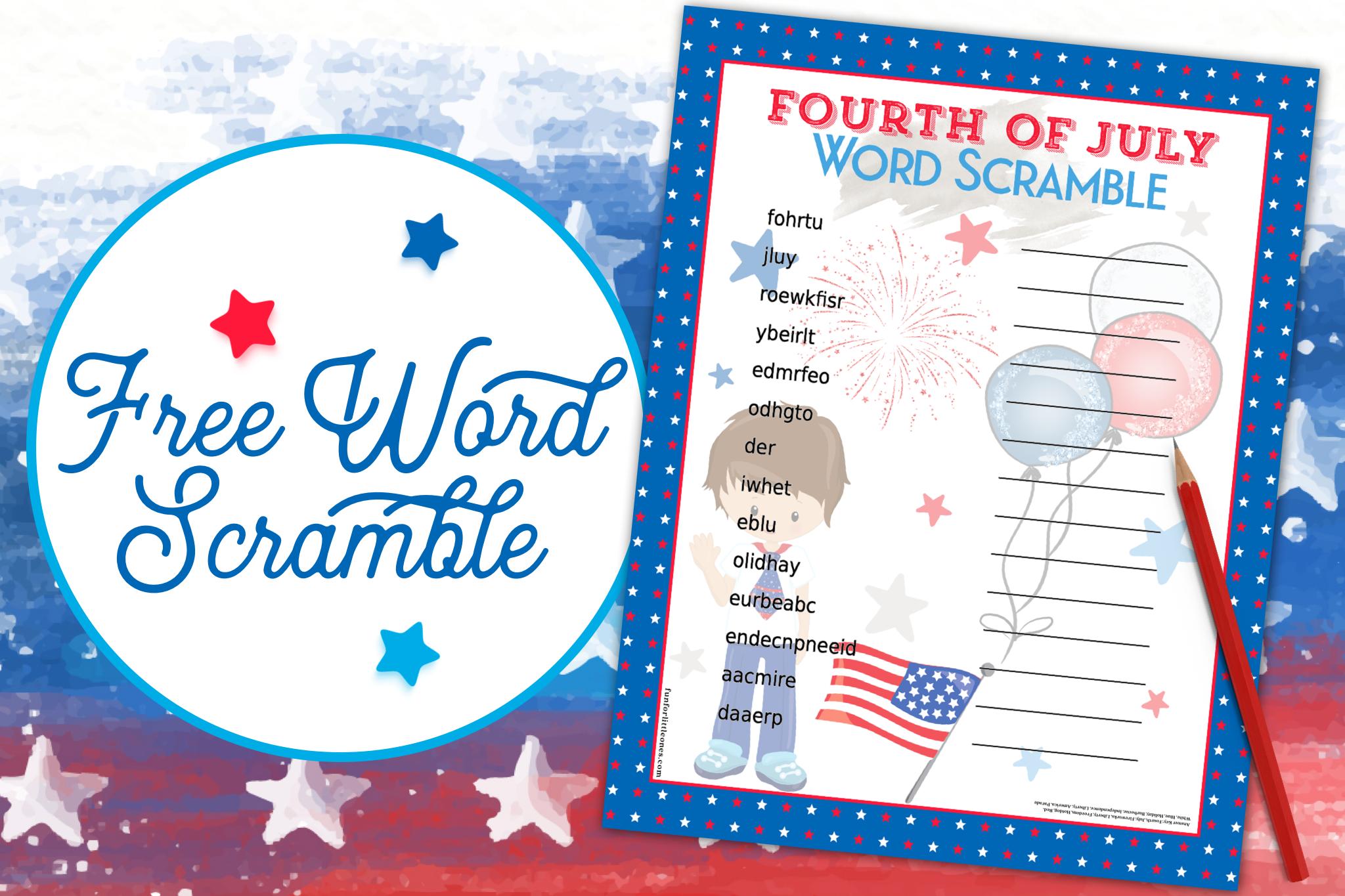 Fourth of July Word Scramble (Boy) 1