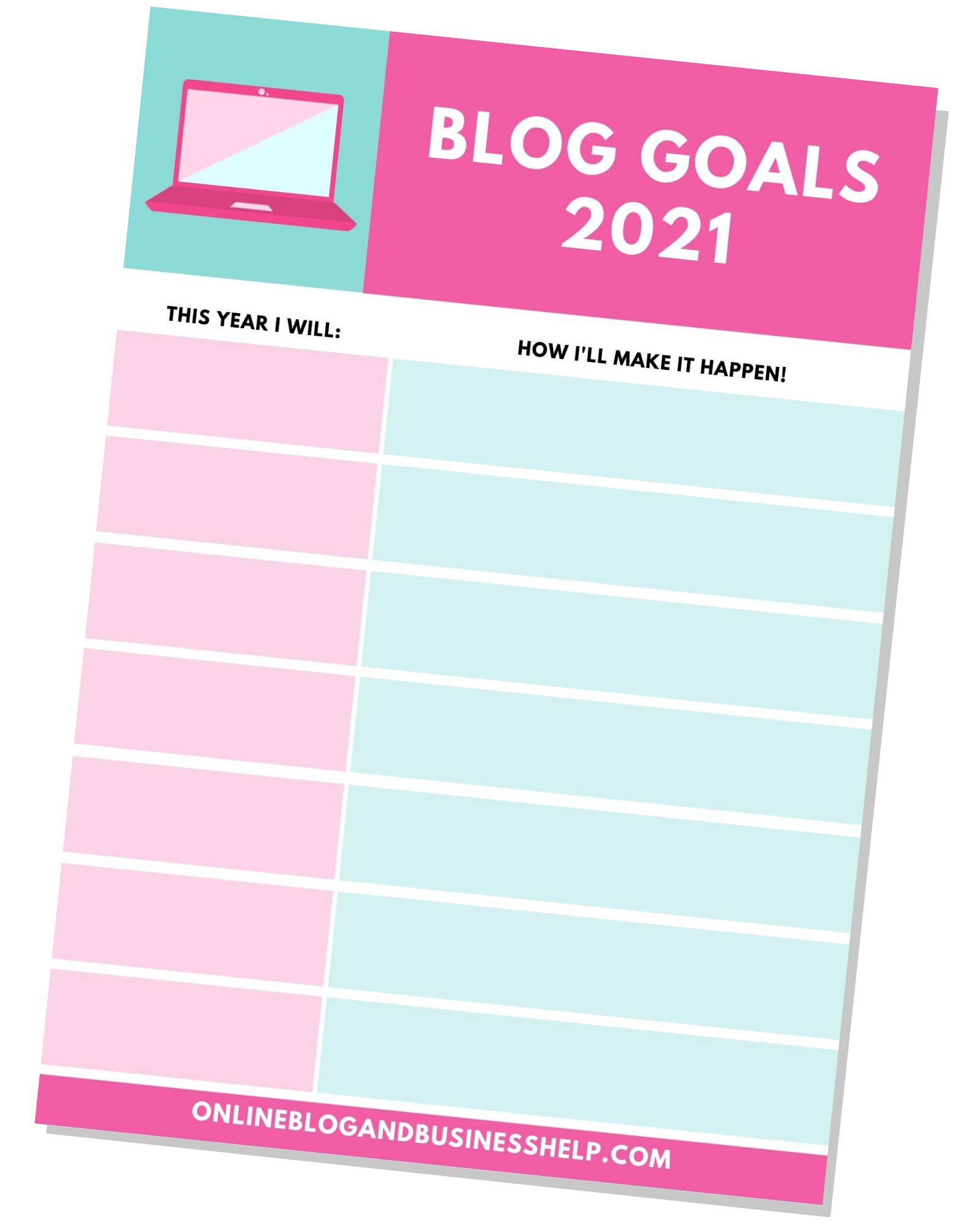 Free Printable Blog Goal Sheet