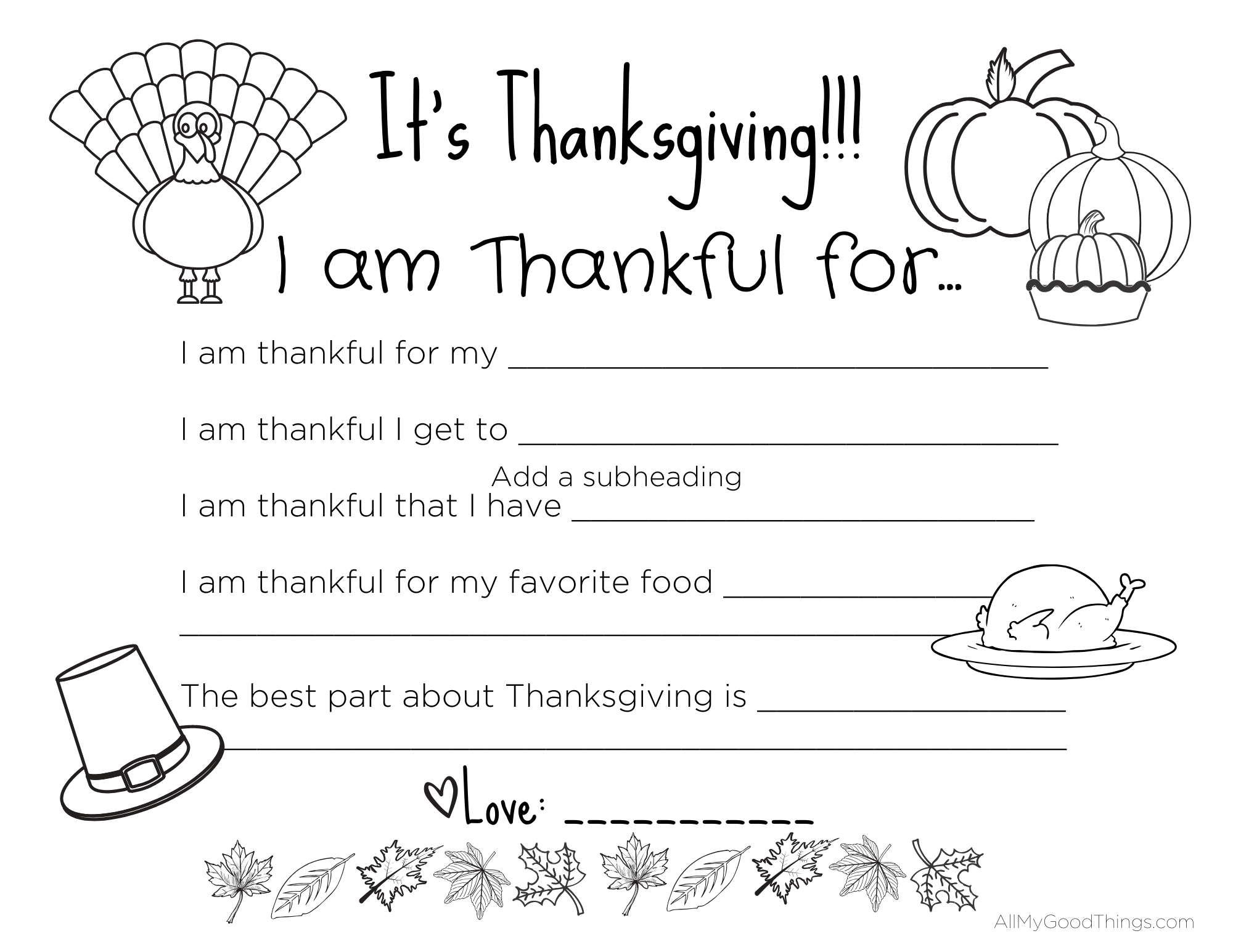 FREE Printable Thanksgiving Placemats for the Kids - All ...