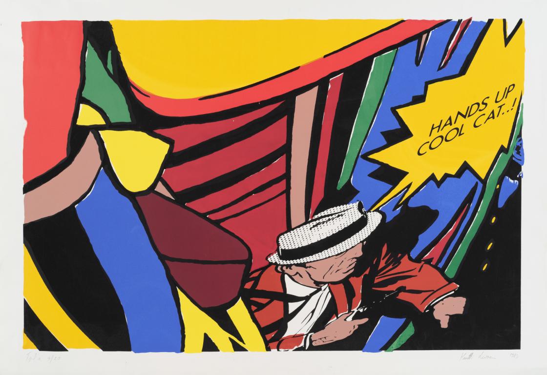 Kuutti Lavonen, Hands up cool cat...!, 1983, laakapaino, serigrafia