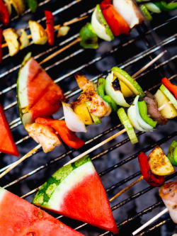 BBQ grill with food cooking