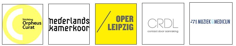 Logo's Stichting Orpheus Curat, Nederlands Kamerkoor, Oper Leipzig, CRDL, Muziek als Medicijn