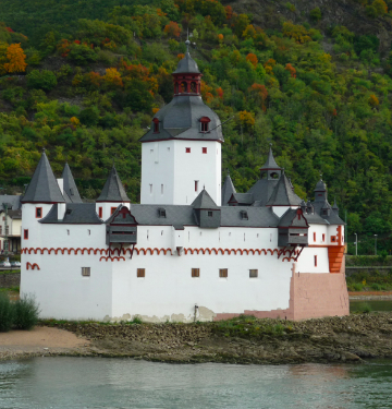 Pfalzgrafenstein castle on an island in the middle of the Rhine River