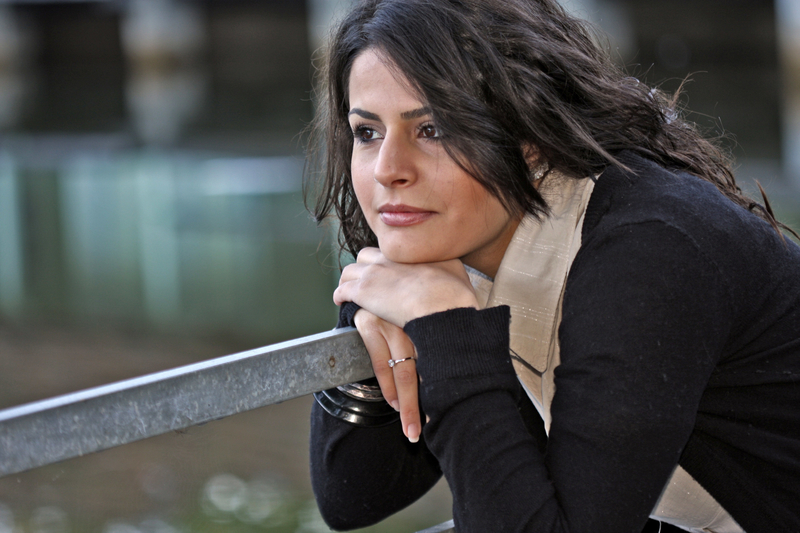 Woman staring and reflecting