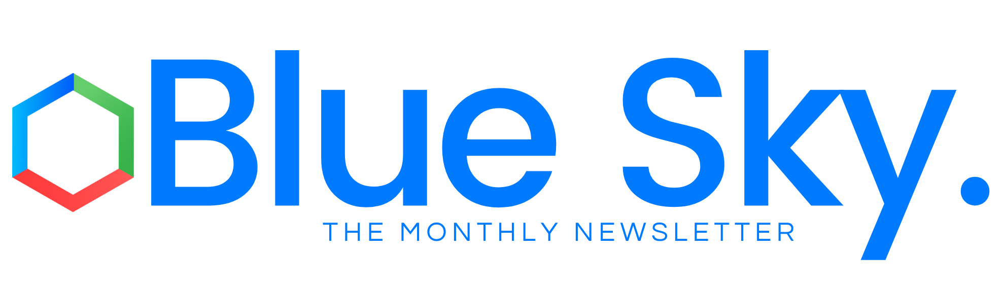 Banner saying Blue Sky- The Monthly Newsletter with company logo