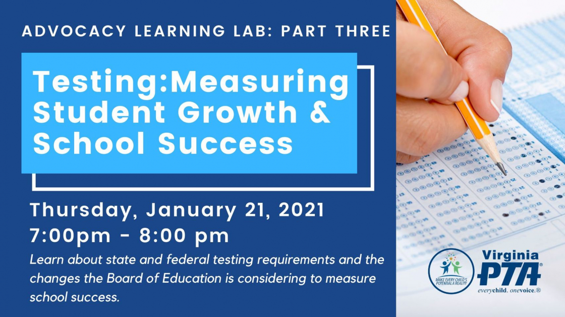 Testing: Measuring Student Growth & School Success. January 21, 2021 @ 7:00-8:00 PM