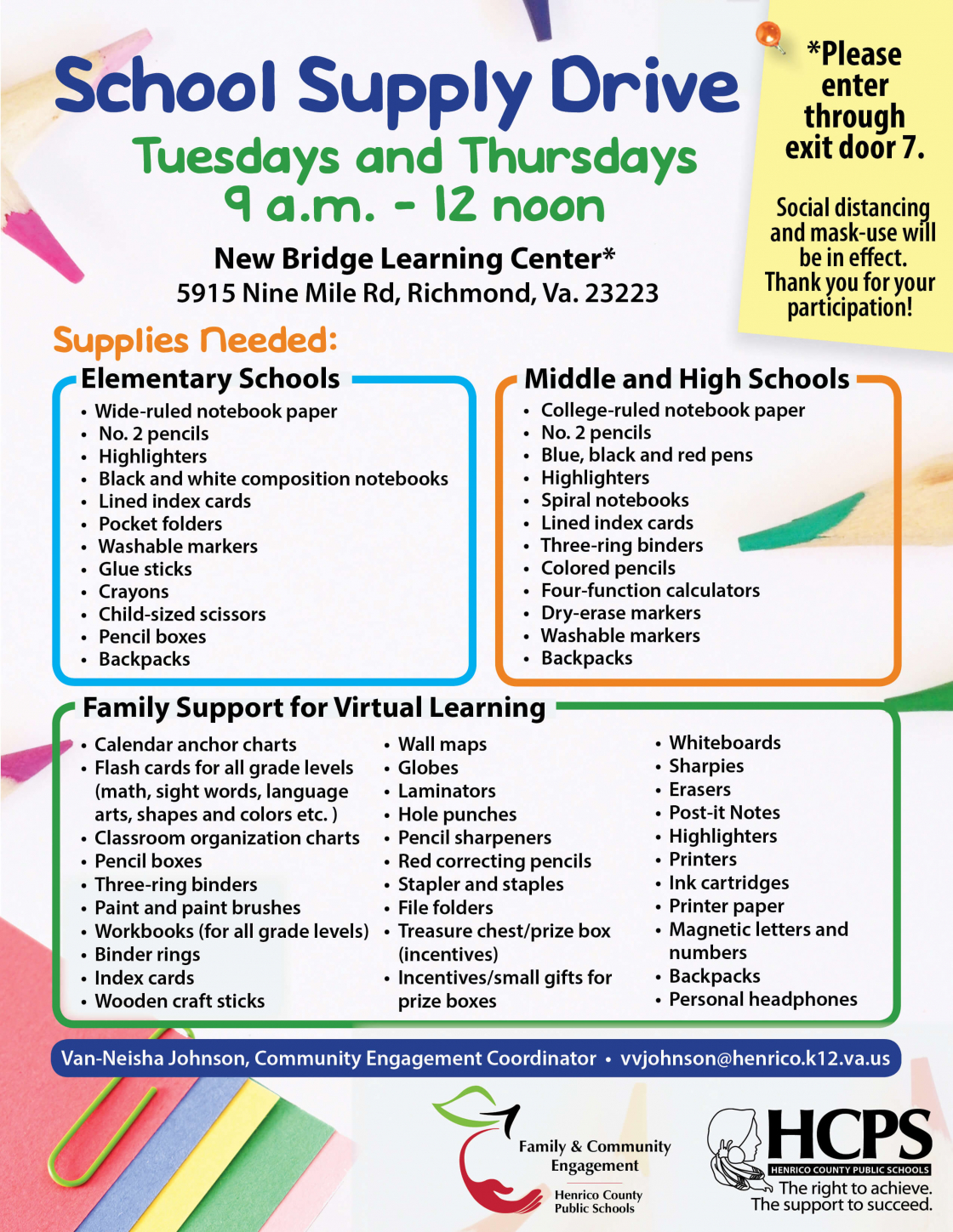 School Supply Drive: Tues and Thurs, 9am-noon, New Bridge Learning Center