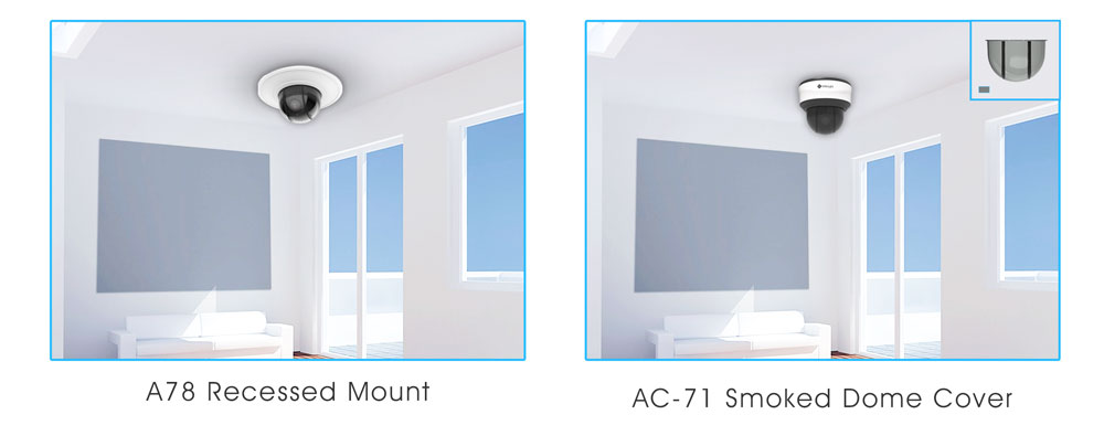milesight mini ptz dome network camera with recessed installation and smoked dome cover