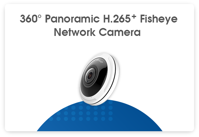 360° Panoramic H.265+ Fisheye Camera