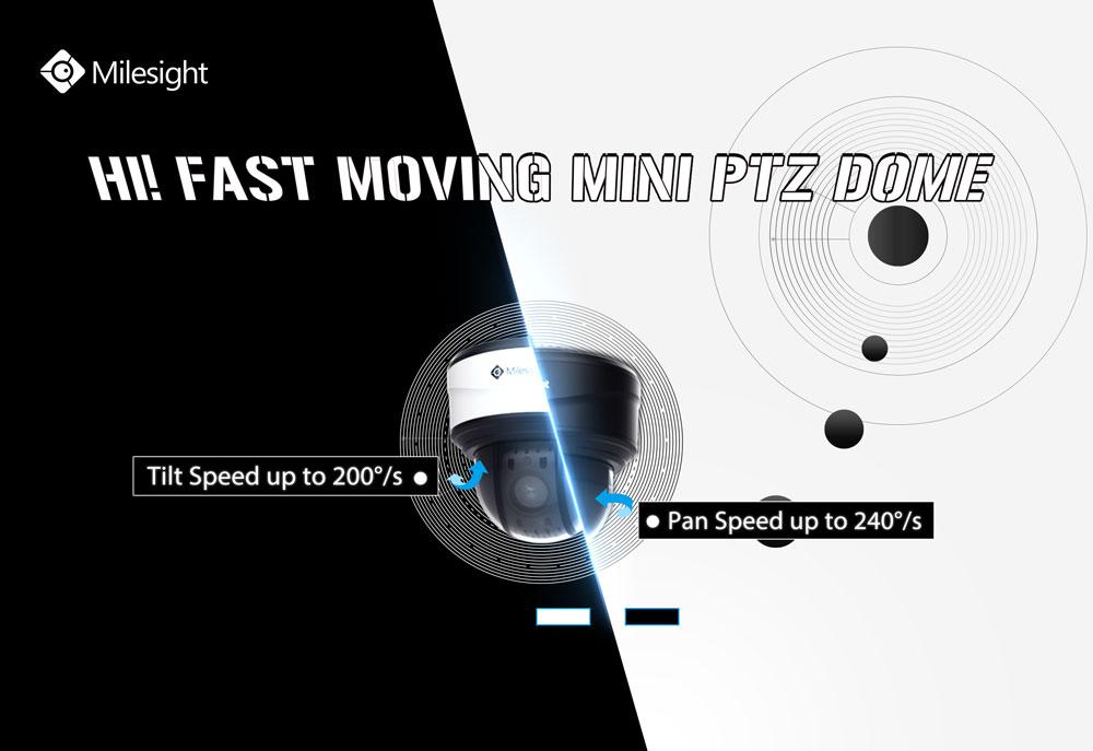 Milesight 12X/23X Mini PTZ Dome Network Camera with high-speed movement