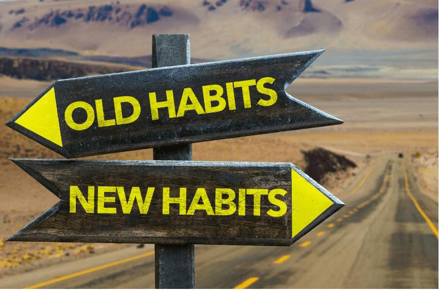 Old Habit New Habit crossraod sign