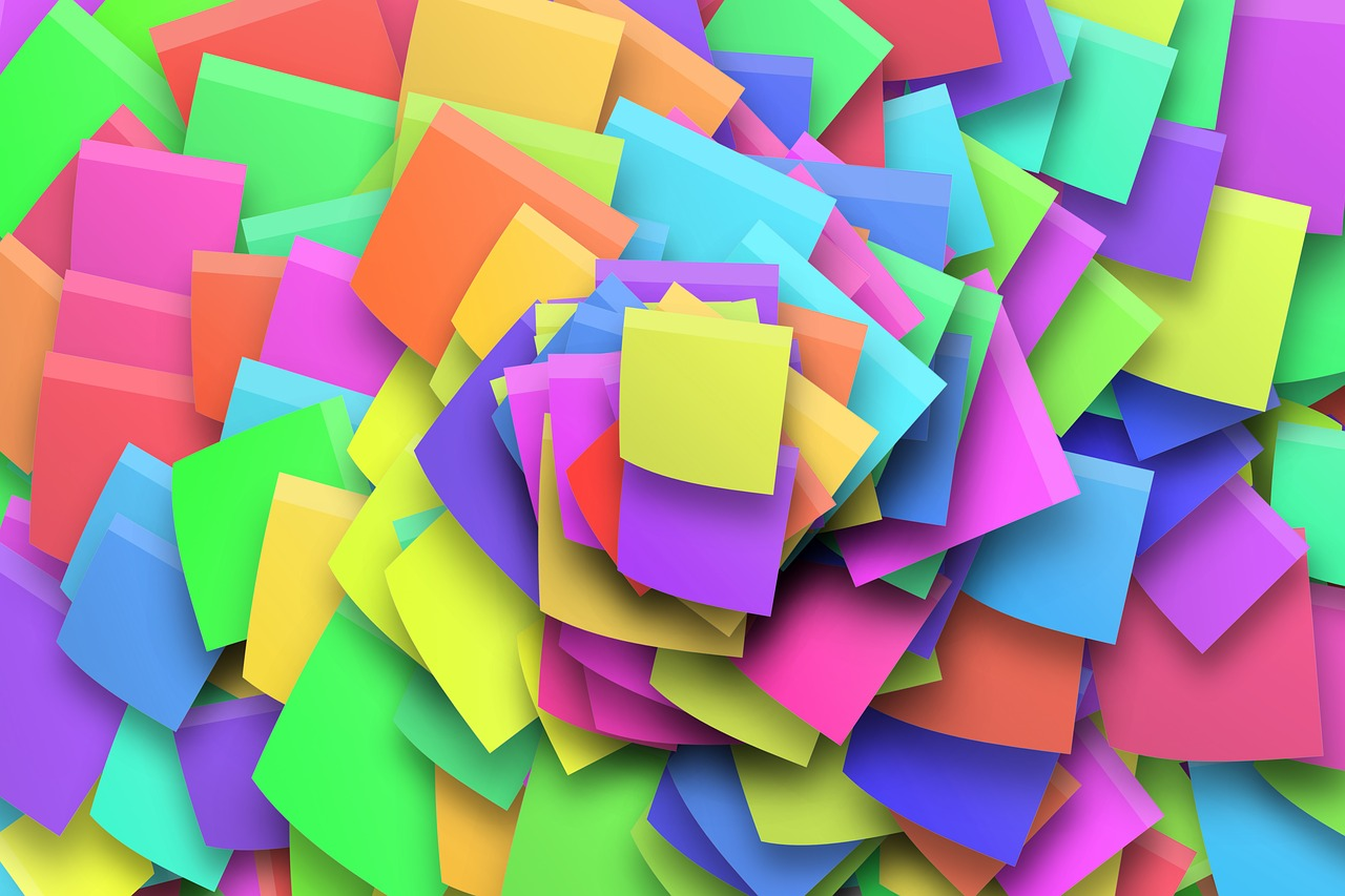 Make your own 'positive post-it's pile'