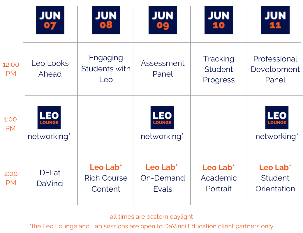 DaVinci Week Schedule