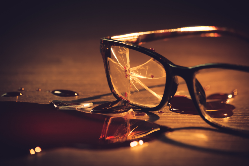 Broken glasses and a pool of blood (image © Shutterstock)