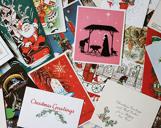 Image shows a selection of Christmas cards