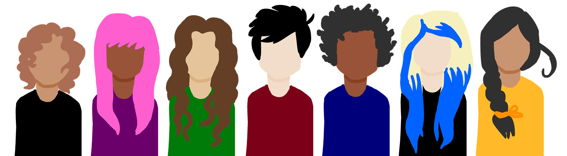 Image shows a line of people of differing ages and characteristics