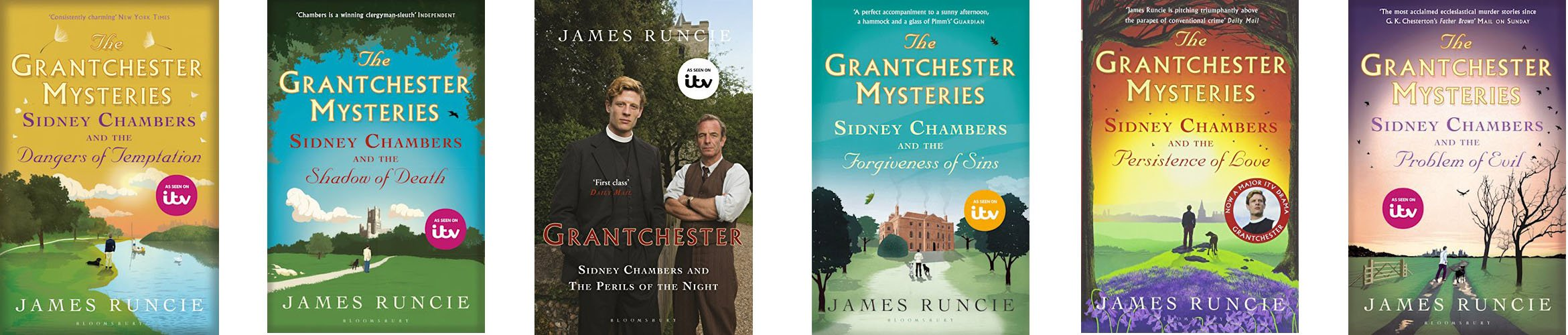 Image Shows a selection of book covers from the Grantchester series